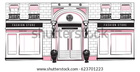 vector shopfront detailed pink  ...