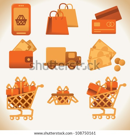 Vector shoping icons set