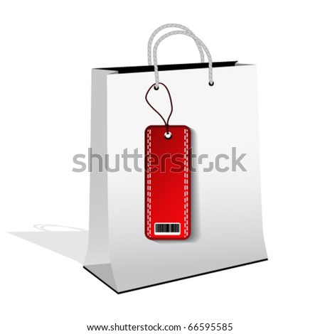 Vector shopping bag with sale tag