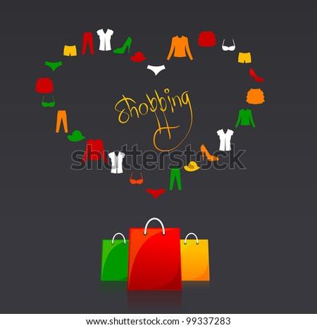 Vector shopping bags and clothes heart - stock vector