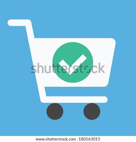 Vector Shopping Cart and Check Mark Icon
