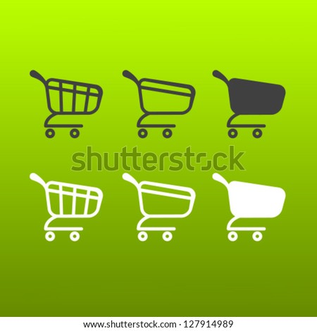 Vector Shopping Cart Icon Set - stock vector