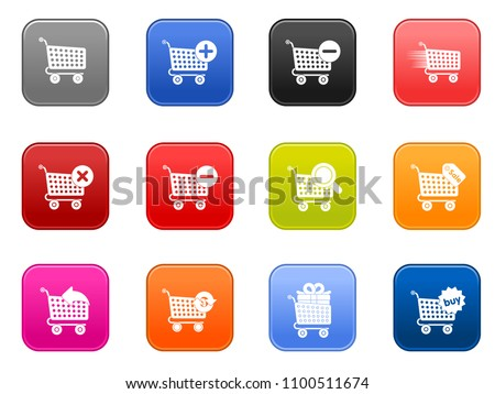 vector shopping cart icons set - sale buy shop symbol - web market store sign