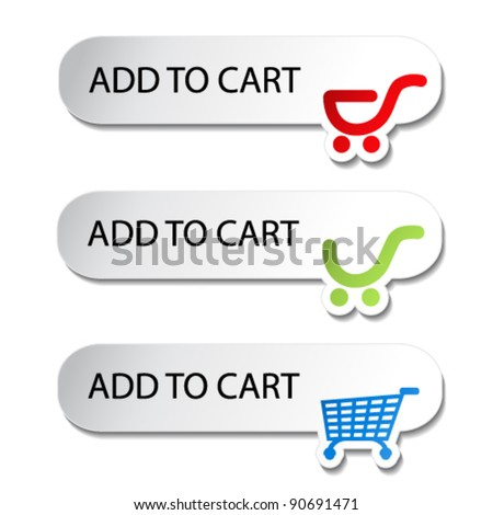 Vector shopping cart item - add buttons - stock vector
