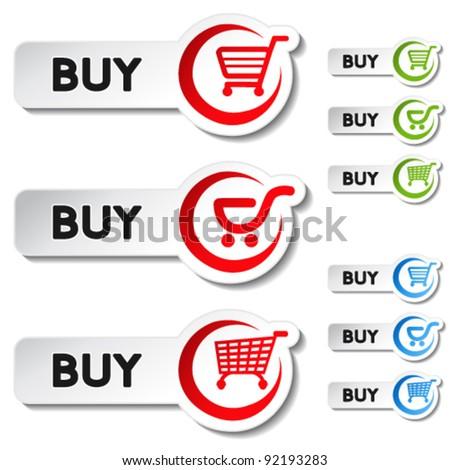 Vector shopping cart item - buy buttons