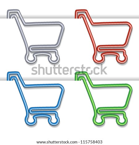 Vector shopping cart item - shopping trolley, paper clip