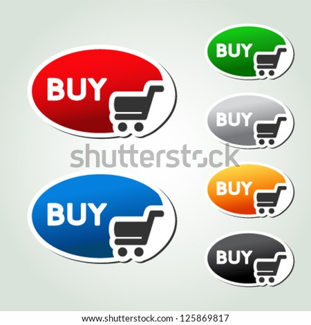Vector shopping cart item, trolley, oval button