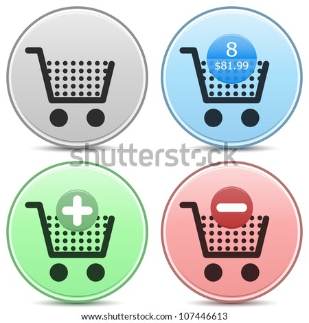 """Vector shopping cart trolley icon matte button set. Includes """"empty cart"""", """"filled cart"""" with item count and valuation, """"add to cart"""" and """"remove from cart"""" icons. EPS10."""