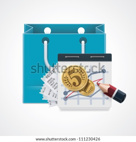 Vector shopping expenses icon. Includes Shopping bag, notepad with charts, coins and pencil