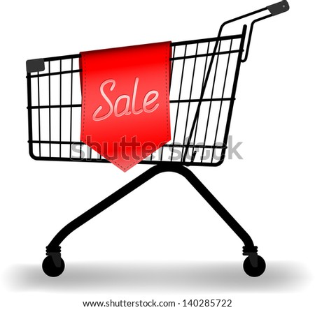 vector shopping trolleys and sale sign, gradient mesh used for shadow, raster version available