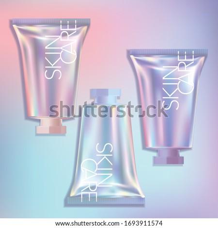 Vector Short Holographic Tube Hand Cream CC Cream Foundation Beauty Makeup Skincare Medical Medicated Repair Cream Unicorn Mermaid Theme Sweet Girl Packaging