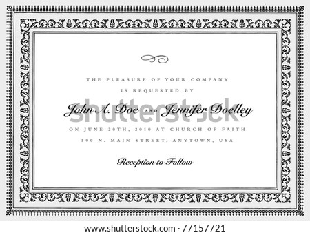 Vector Short Ornate Vintage Frame. Easy to edit. Perfect for invitations or announcements.