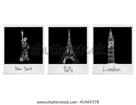 vector shots of USA, France and UK symbols