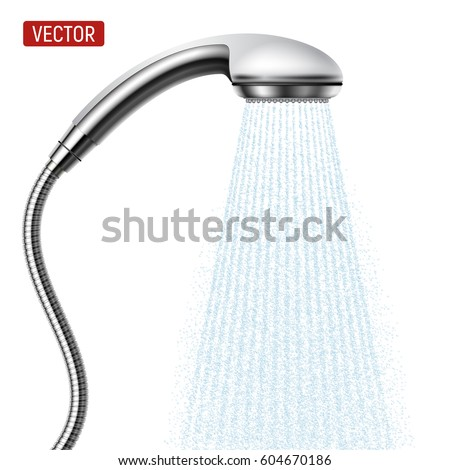 Vector Shower head with water drops flowing isolated over a white background. Realistic illustration.