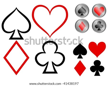 Vector showing three variations of playing card symbols - plain, outline and glossy buttons