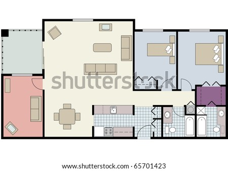 Vector shows the architectural plan of two-bedroom condo with den and furniture