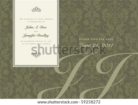 Vector side frame and ornate pattern. Perfect as invitation or announcement. Pattern is included as seamless swatch. All pieces are separate.