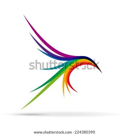 vector sign abstract bird in