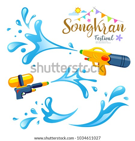 Vector sign and water songkran festival of Thailand design background, illustration