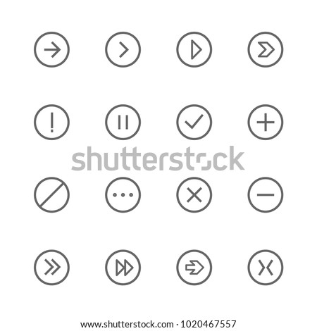 vector sign arrow icons outline, rounded, linear set grey on white background