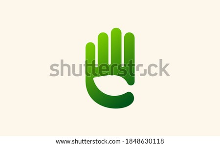 Vector sign environment friendly, hand and leaf. creative concept.