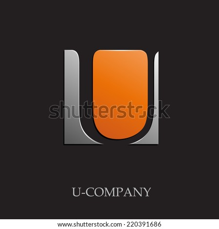 vector sign initial letter u on
