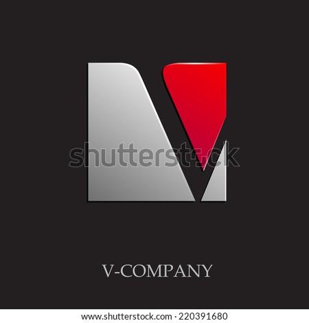 vector sign initial letter v on