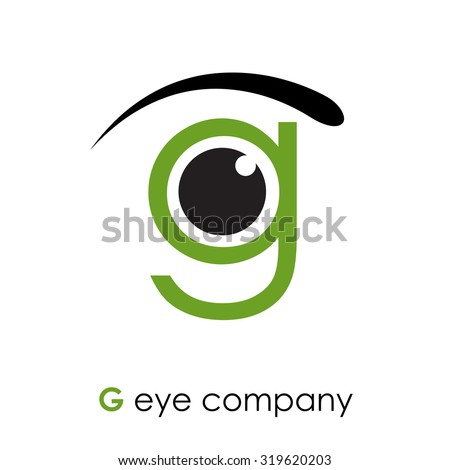 vector sign letter g  with eye