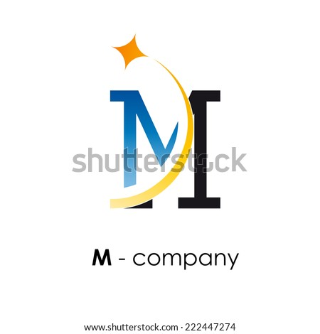 vector sign letter m with star