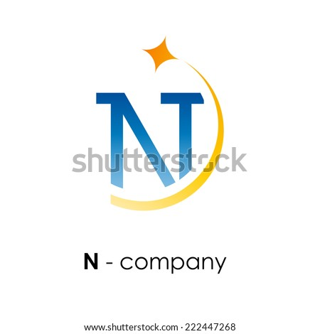 vector sign letter n with star