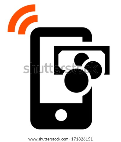 Vector sign of mobile phone with wireless signal and cash isolated on white background