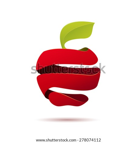 vector sign peeled apple