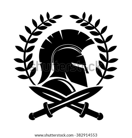 vector sign spartan helmet
