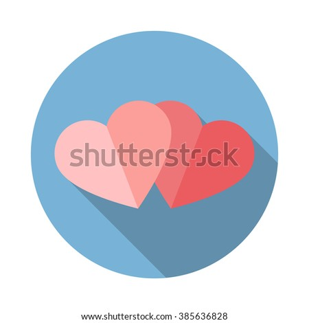 vector sign two hearts flat