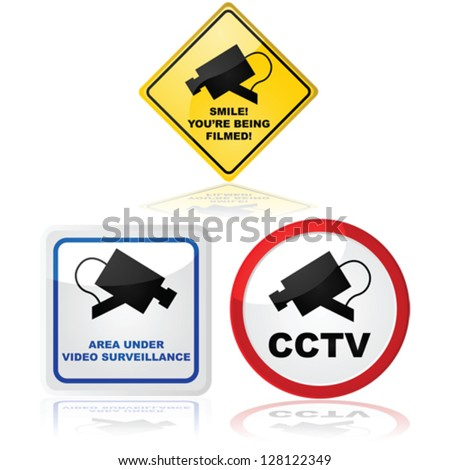 Vector signs showing that a video camera is in use in the place where the sign is located
