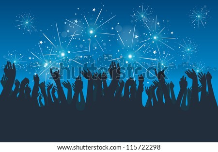 Vector silhoeuttes of people celebrating new year eve in the city. - stock vector