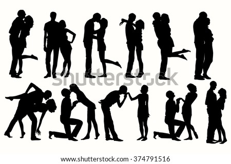 Vector silhouette couple man and woman in love black on white background.