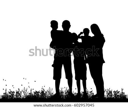 Vector, silhouette family with three children