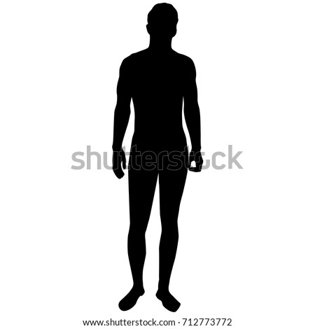 Vector silhouette figure of a man, standing, black color, isolated on white background