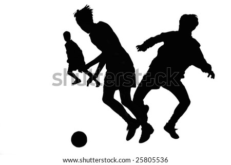 vector Silhouette football players about a ball