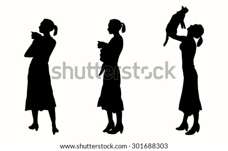 vector silhouette girl with a
