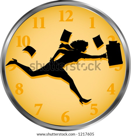 vector silhouette graphic depicting a business person as hands of a clock