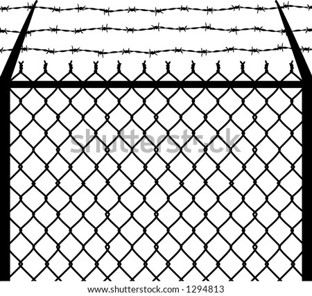 vector silhouette graphic depicting a chain link and barbed wire fence
