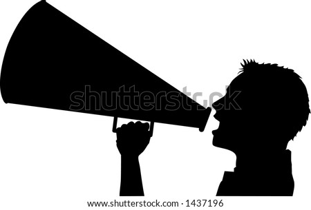 vector silhouette graphic depicting a cheerleader with a megaphone (concept: advertise)