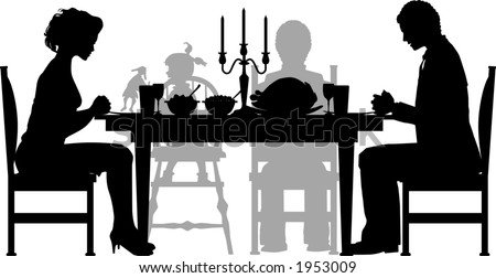 vector silhouette graphic depicting a family having their (Thanksgiving) dinner