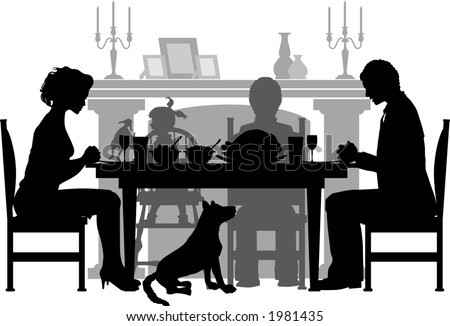 vector silhouette graphic depicting a family having their (Thanksgiving) dinner - stock vector