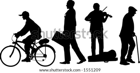 vector silhouette graphic depicting a group of urban sidewalk people