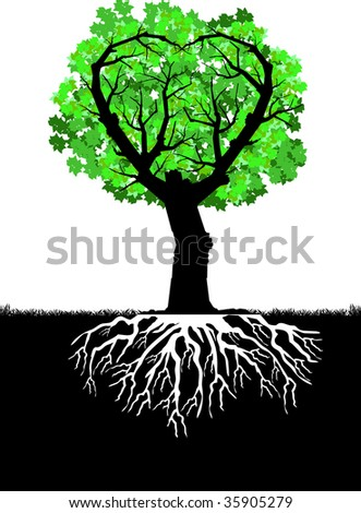 Vector silhouette graphic depicting a heart-shape tree with roots and leaves