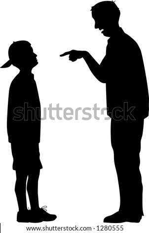 stock vector : vector silhouette graphic depicting a man and a boy (father