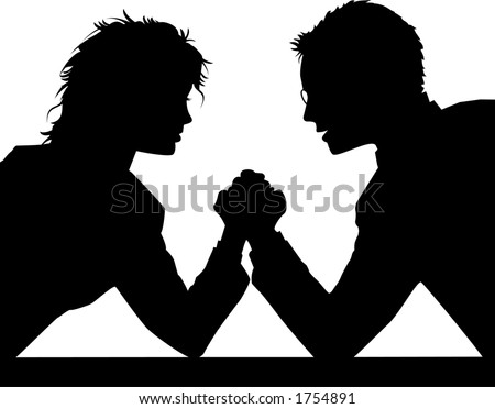 vector silhouette graphic depicting a man and a woman arm wrestling